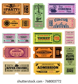 Retro party, cinema, movie and music event vector passing tickets set. Ticket to theater and music concert illustration
