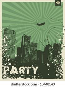 Retro Party City Vector Illustration