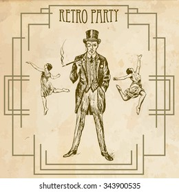 Retro party design with old-fashioned girls and gentlemen. Art Deco and Nouveau Gatsby Epoch 1920's 1930's and 1940's Style. Vector illustration
