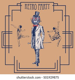 Retro party design with old-fashioned girls and cat gentleman. Art Deco and Nouveau Epoch 1920's 1930's and 1940's Style. Vector vintage illustration. Cat hipster, furry art, fashion animals
