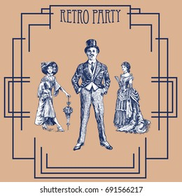 Retro party design with old-fashioned girls and gentleman. Art Deco and Nouveau Gatsby Epoch 1920's 1930's and 1940's Gatsby Style. Vector vintage illustration
