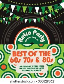 Retro party invitation bunting and album design template.