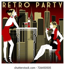 Retro Party invitation card. Handmade drawing vector illustration. Vintage style.