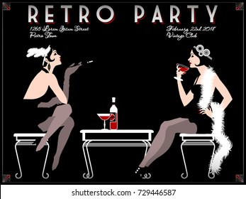 Retro Party invitation card. Handmade drawing vector illustration. Art deco style.