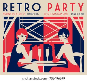 Retro Party invitation card. Handmade drawing vector illustration. Art deco minimalistic style.