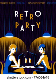 Retro Party invitation card. Handmade drawing vector illustration. Art deco  and minimalist style.