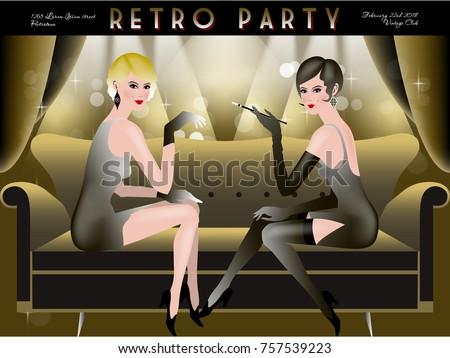 Retro Party Invitation Card Handmade Drawing Stock Vector