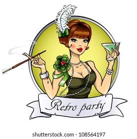 Retro party invitation card, pretty woman with cigarette and glass of alcohol, logo design with space for text, 20s, 30s