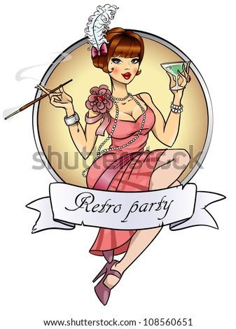 retro party invitation card pretty woman stock vector royalty free