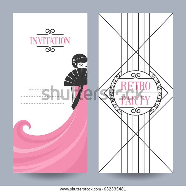 Retro Party invitation card in the style of the 1920s. Vector illustration. Art Deco