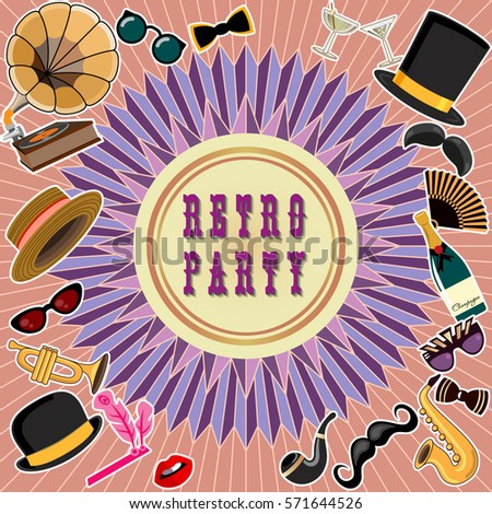 retro party invitation card suitable flyers stock vector royalty