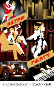 Retro party invitation card. Vector set of 6 various parts: flapper girl, New York cityscape, pianoman, dancing couple, retro car & party. Handmade drawing vector illustration. Art Deco style.