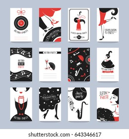 Retro Party invitation cards in the style of the 1920s. Vector illustration.