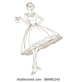 1 056 50 s 50 s dress images royalty free stock photos on shutterstock 1960s Work Clothes retro party invitation design beautiful retro woman with glass vector illustration