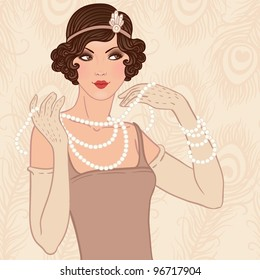 Retro party invitation design with  a flapper girl  (20's style)
