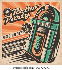 Retro party invitation design template vintage stock vector.