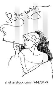 retro party invitation design. Vector illustration.