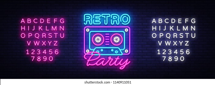 Retro Party neon poster, card or invitation, design template. Retro tape recorder cassettes neon sign, light banner. Back to the 90s. Vector illustration eon style. Editing text neon sign