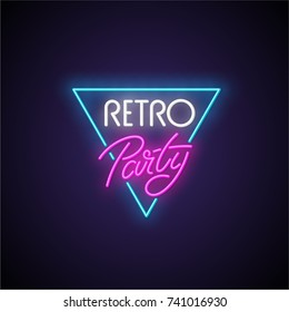 Retro party neon signboard. Vector Illustration.