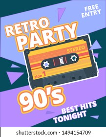 Retro party poster. 90s label with stereo audio cassette music background vector placard