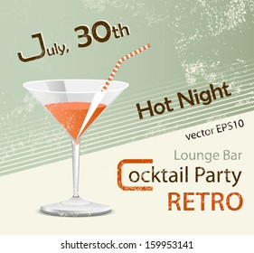Retro party - poster design - cocktail glass