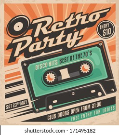 Retro party poster design. Disco music event at night club, vintage invitation template.