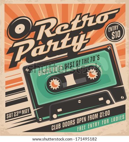 Retro Party Poster Design Disco Music Stock Vector Royalty Free