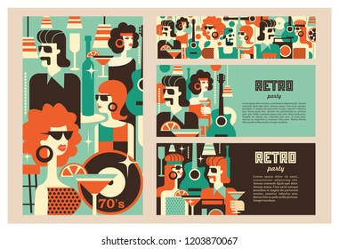 Retro party poster. Vector illustration in retro style. People dressed in the fashion of 60-70 years. Men and women in the bar with drinks. Musical instruments, vinyl discs.