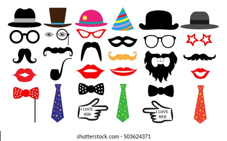 Retro party set. Glasses, hats, lips, moustaches, tie, monocle. Isolated vector.