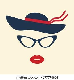 Retro Party set - glasses, lips, hat