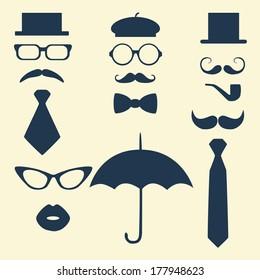 Retro Party set - glasses; lips; mustaches; umbrella; hat; tie