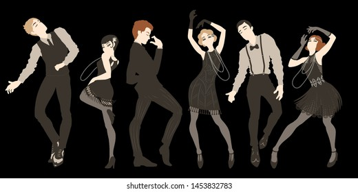 Retro party set, men and women dressed in 1920s style dancing, flapper girls, handsome guys in vintage suits, twenties, vector illustration