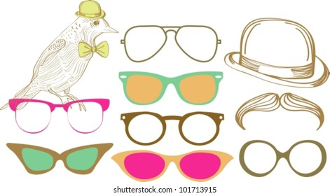 Retro Party set: sunglasses, bird and hat, vector