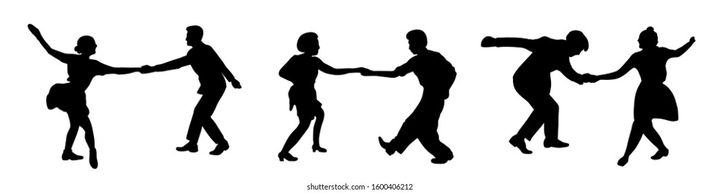 Retro party. Set of three dancing couples silhouettes isolated on white background.People in 1940s or 1950s style.Men and women on swing,jazz,lindy hop or boogie woogie party.Vector stock illustration.
