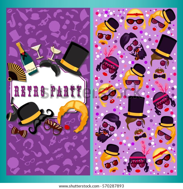 Retro Party Two Sides Poster Flyer Stock Vector (Royalty