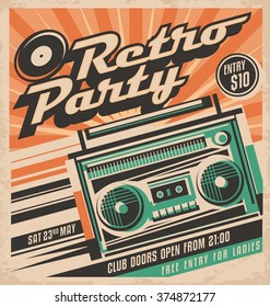Retro party vector poster design concept. Disco music event at night club, vintage party invitation template. Unique music background theme. Cassette player.