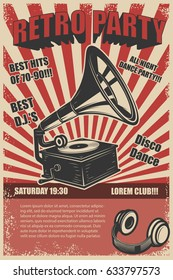 Retro party. Vintage gramophone on grunge background. Design elements for poster. Vector illustration