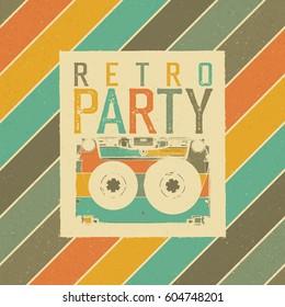 Retro Party. Vintage Music Party Leaflet Template. Retro colors. Audiocassette retro image. Grunge, vintage, textured illustration.