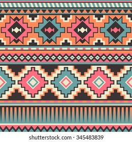 retro pastel multicolor tribal seamless pattern. aztec fancy abstract geometric art print. ethnic hipster backdrop. Wallpaper, cloth design, fabric, paper, wrapping, textile design template.