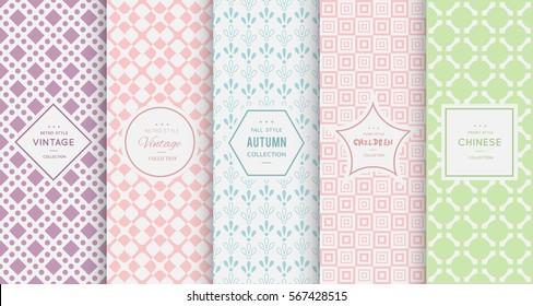 Retro pastel seamless pattern background. Vector illustration for elegant design. Abstract geometric frame. Stylish decorative label set. Pale light color. Monochrome geometric ornament