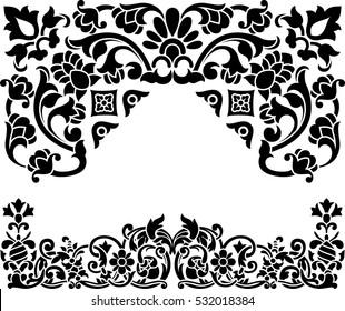 Retro pattern antique style acanthus. Decorative design element filigree calligraphy vector.