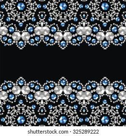 Retro pattern from brilliant stones. Christmas frame, card. Beautiful jewelry fabric, shawl, wallpaper. Fashion ornament crystal precious, silver applique rhinestones, jeweler - stock vector