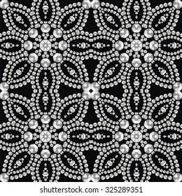 Retro pattern from brilliant stones. Christmas card. Beautiful jewelry fabric, shawl, wallpaper. Fashion ornament crystal precious, silver applique rhinestones, jeweler - stock vector