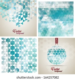 Retro pattern of geometric shapes. Colorful mosaic banners. Geometric hipster retro background. Retro triangle background. Set of four geometric templates.