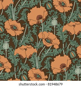 Retro pattern with poppies