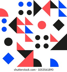 Retro pattern strict geometric shapes on a white background. Vector Illustration.