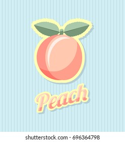 Retro peach with title on striped background
