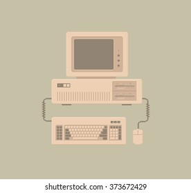 Retro Personal Computer with Keyboard and Mouse - Vector Illustration in Pixel Art Classical Technique