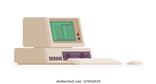 Retro personal computer, old model. Vintage machine getting rid of and disposing recycle service. Vector flat style cartoon illustration, isolated, white background