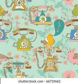 retro phone with birds seamless pattern